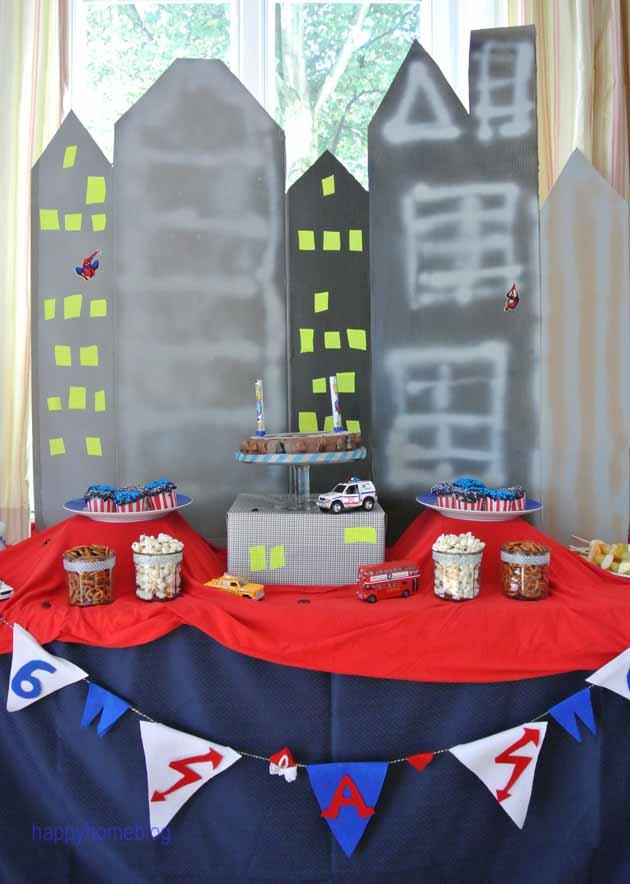 Superhelden Party Spiderman Batman Superman Kuchen Snack Candytable New  York City Birthday Kindergeburtstag