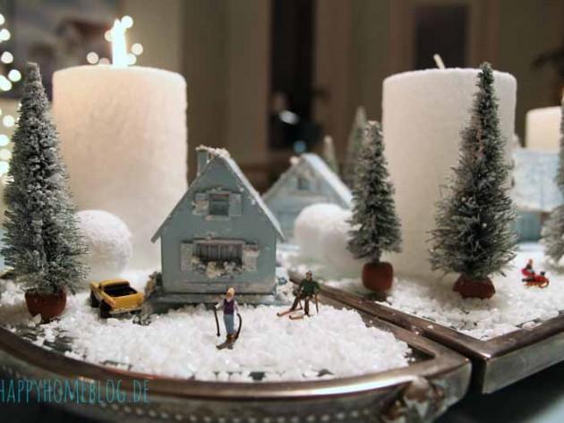 Winterliche tischdeko unser adventskranz happyhomeblog - Tischdeko advent ...
